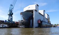6-DSCN1208 (hemingwayfoto) Tags: bundesmarine dock eingetütet geschützt hafenrundfahrt hamburg kran renovierung schiff werft