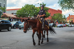 Cop on Horseback (Samantha Decker) Tags: broadway canonef50mmf14usm canoneos6d flagday ny newyork samanthadecker saratogasprings horse policeofficer upstate