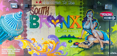 """Welcome to the South Bronx"" Mural, New York City (jag9889) Tags: 2017 20170603 allamericacity bronx firehydrant graffiti mural music ny nyc newyork newyorkcity outdoor painting player southbronx streetart tagging tatscru thebronx usa unitedstates unitedstatesofamerica wall welcome jag9889 us brucknerboulevard colorful motthaven oneway sign traffic underpass brucknerexpressway"