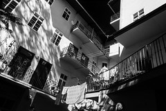 Lesser Town Courtyard V. (Tanya.Kirilova) Tags: courtyard prague praha czechrepublic czphoto tokina1120mm composition blackandwhite bw city lessertown architecture balcony monochrome black white cityscape malástrana