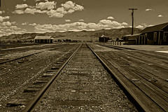 To Infinity and Beyond (oybay©) Tags: nevadanorthernrailroad nevada northern railroad nevadanorthern abandoned landscape geometrie geography lines railway vanishingpoint leadinglines bw mood sky clouds henk nikond90 powerfocus mygearandme sport outdoor vehicle track skyline monochrome depth field