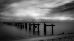 new age sound (listening to hippies kayaking with a boom box strapped to the front blaring some enya) (haint_blue) Tags: coastal beach sand reflection sky clouds monochrome bw blackandwhite canon le longexposure pier sea ocean water hendersonpoint passchristian mississippisound mississippi