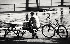 Sunday afternoon (vinnie saxon) Tags: park people sunday recreation woman bycicle blackandwhite monochrome nikoniste nikon d600