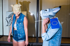 Animal Farm (Jeffrey De Keyser) Tags: brussels brussel bruxelles belgium street streetphotography animals animalfarm people flash fuji color blue jeans pig rabbit surreal europe frq ins eym sal