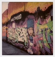 Hooray for Hollyweed (tobysx70) Tags: the impossible project tip polaroid sx70sonar sonar instant color film for sx70 type cameras impossaroid hooray hollyweed el centro avenue hollywood los angeles la california ca mrking157 mural graffiti urban street art sign griffith observatory weed pot medical marijuana cannabis joint blunt spliff camberwell carrot baseball cap toby hancock photography