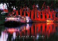 postcard - Canal du Midi, France 4 (Jassy-50) Tags: postcard canaldumidi france canal engineering boat unescoworldheritagesite unescoworldheritage unesco worldheritagesite worldheritage whs sunset toulouse