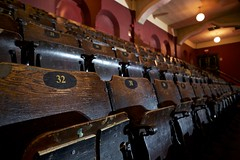 massey hall (twurdemann) Tags: 32 dot17 architecture auditorium balcony concerthall doorsopen fujixt1 masseyhall music nationalhistoricsite ontario patina seats theatre toronto viveza wood xf14mm