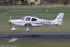LX-SRD - 2006 build Cirrus SR22 GTS, arriving on Runway 24 at Friedrichshafen during Aero 2017 (egcc) Tags: 1759 aero aerofriedrichshafen aerofriedrichshafen2017 bodensee cirrus cirrusdesign deyglun edny fdh friedrichshafen gts lxsrd lightroom n630ra n630rb sr22