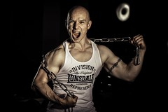 Chain Man (salas-3) Tags: power fitness fit fineart light expression photography chain gym bodybuilder one muscles strong man portrait