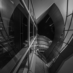 Cocoon in the Butterfly (marco ferrarin) Tags: cocoontower shinjuku underground passage night sky reflection glass elevator tower skyscraper butterfly building longexposure urban geometry abstract geometric city 新宿 コクーンタワー 蟲繭大廈 東京 tokyo squareformat station