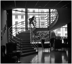 The Prague Perspectives (3) (kurtwolf303) Tags: stufen stairs person building gebäude silhouette lightsshadows lichtschatten olympusem1 omd microfourthirds micro43 systemcamera mirrorlesscamera spiegellos mft kurtwolf303 hotel prague prag praha czechrepublic tschechien europe europa monochrome bw sw mono unlimitedphotos urbanlifeinmetropolis urban windows fenster einfarbig 250v10f treppe 500v20f topf25 topf50 topf75 topf100 1000v40f topf150 2000views