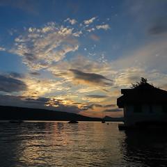 Fusion (nathaliedunaigre) Tags: lacdannecy lac lake sunset sunsetlight coucherdesoleil twilight crépuscule carré square ciel sky clouds nuages reflets reflections contrejour againstthelight silhouettes