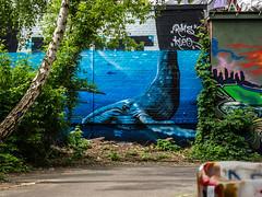 Big Blue (katrin glaesmann) Tags: berlin teufelsberg flugüberwachungsundabhörstation flugsicherungsradarstation streetart wallart fieldstationberlinteufelsberg nsa