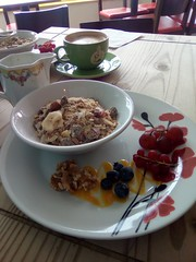 Sam's Breakfast at The Beached Lamb Cafe in Newquay (samsaundersleeds) Tags: muesli coffee breakfast beachedlambcafe newquay