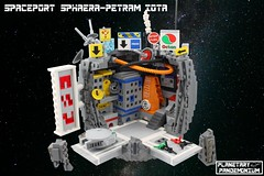 Spaceport Sphaera-Petram Iota #1 (Casey M.) Tags: plantary lego space planetoid pandemonium casey pew swoosh swooshlug planet bruce lowell spaceport sphaera petram iota microscale spaceship dock port