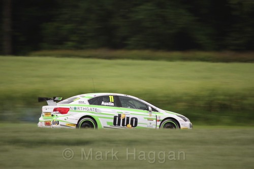 Rob Austin in BTCC action at Croft, June 2017