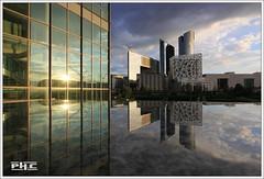 La Défense (Philippe Cottier (PH.C)) Tags: ladéfense france urban panorama reflets reflection iledefrance skyscrapers buildings nuages clouds puteaux tourssociétégénérale sunsettime coucherdesoleil francia hautsdeseine 92 areaofparis architecture ciel sky