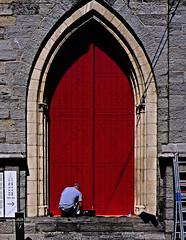Fresh painted (juliensart) Tags: juliensart belfort gent ghent gand befroi red rood rouge verf geverfd paint painted door deur poort vlaanderen flanders belgium panasonic lx7 dmc leica