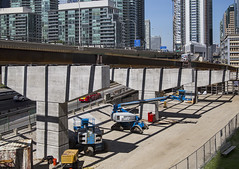 20170616. New steel girders add stripes of shadow to the supports of a quickly progressing Gardiner Expressway Simcoe off-ramp. (Vik Pahwa Photography) Tags: vikpahwacom vikpahwaphotography toronto gardiner expressway highway freeway totransportation transportationservices ramp offramp cityoftoronto infrastructure roads construction concrete simcoeramp waterfrontbia girders steel