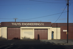 Thuys Engineering (thoughtfactory) Tags: garysauerthompson hendon thuysengineering architecture tapleyshillrd 6pm digital colour handheld sonynex7 novoflexadaptor leicasummicron35mmf20asph latesummerlight
