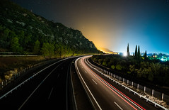 Highway (free3yourmind) Tags: highway transportation system light car passing fast speed olympia odos greece peloponnese achaia mountain trees night sky stars travel