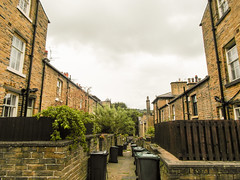 227 -  Saltaire - Back Yards with wheelie bins in alley way (1 of 1) (md2399photos) Tags: 2jun17 almshouses davidhockney robertspark saltaire saltaireunitedreformedchurch saltsmill victoriahall