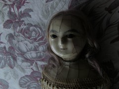 YUELIANG_slit-head wax doll_1820 (leaf whispers) Tags: wax doll antique creepy scary bizarre weird obsolete toy cracked crazing human hair real victorian 19th century 1800 old girl woman female entropy distressed madalice montanari papiermache papermache haunted spirit ghost witch lady slit slithead auction forsale head edwardian georgian death mementomori decay grief loss horror sinister haunting devil evil chiaroscuro shadow shadows mourning moon moonlight melancholia melancholy fashion queen ann anne pink red french linen toile jouy floral roses toiledejouy