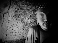 Inner Texture. Buddha (Beato J | Royalty Free Music for Media) Tags: buddha buddhism india srilanka tibet thailand theravada mahayana ritual meditation religion spiritual peace calm relaxing eyes face portrait blackandwhite wall cracks