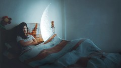 341/365 No sleep for the wicked (Katrina Yu) Tags: selfportrait surreal surrealphotography bed sleep 2017 365project conceptual creative concept manipulation magic moon
