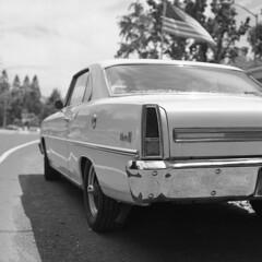 'merica! (mattt1970) Tags: hasselblad500cm carlzeissplanarcft80mmf28 ilfordhp5 hc110b film analog 6x6 blackandwhite bw nova chevy car