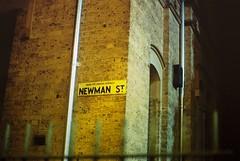 Newman Street Sign (goodfella2459) Tags: nikon f4 af nikkor 50mm f14d lens cinestill 800t 35mm c41 film analog newman street sign sydney night streets city colour milf