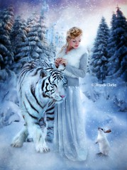 The White Queen (~Brenda-Starr~) Tags: allrightsreserved june2017 aliceinwonderland thewhitequeen white rabbit cheshirecat tiger winter trees castle snow fairytale fantasy imagination fantasie conifers