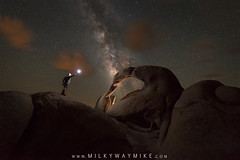 Midnight Explorer at Mobius Arch (Mike Ver Sprill - Milky Way Mike) Tags: midnight explorer mobius arch alabama hills california cali night sky astrophotography astronomy milky way mike michael ver sprill versprill galaxy stars star desert hot rocks rocky bubble light sphere gary fong painting led dark travel explore best photographer clouds beautiful westerns western nature landscape photography