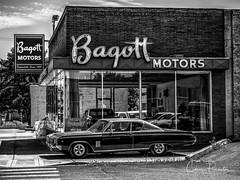 Classic Americana (Chris Parmeter Photography) Tags: car dealership vintage classic old americana blackwhitehdr bw black white monochrome fuji xt2 18135mm