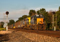 Going for Gold (Wheelnrail) Tags: csx csxt railroad rail road train trains emd sd402 qi159 signal conrail gtype trilight sunset gold light boxcar x89901 ohio indianapolis line subdivision sidney