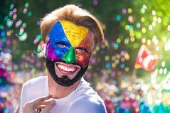 Harlequin Man (DobingDesign) Tags: pridelondon prideinlondon gaypride2017 london bokeh bubbles colours depthoffield colourful loveislove parade makeup facepaint glitter pride