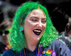 THE GREEN HAIR OF SUMMER . . ._ (panache2620) Tags: green hair greenhair eos canon canon70d twincitiespride pride2017 minneapolis minnesota woman youngwoman young fashionissta style urban city