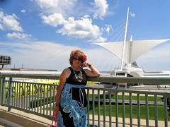 See The Sights Along Milwaukee's Lakefront (Laurette Victoria) Tags: calatrava milwaukee milwaukeeartmuseum woman laurette auburn sunglasses dress