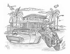 Cruz Night (rod1691) Tags: bw scifi grey concept custom car retro space hotrod drawing pencil h2 hb original story fantasy funny tale automotive art illistration greyscale moonpies blythe cruising cruz