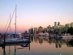 Harbour Moon (FernShade) Tags: vancouver coalharbour moonrising scenery scenic seascape harbour ocean sunset yachts boats reflection