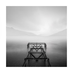 Galvanised by rain (Nick green2012) Tags: blackandwhite longexposure square rain jetty scotland derelict