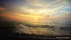 Along the Shore (mswan777) Tags: glow summer evening cloud sky breakwall wave splash lake michigan scenic seascape landscape stevensville nikon d5100 sigma 1020mm