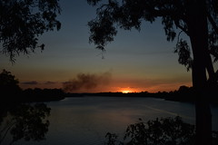 Sugar cane fire [ start of the crush] (Images by Jeff - from the sea) Tags: sunset clouds gumtree water burnettriver bundaberg bluesky smokeysunset smoke sun queensland australia july 2017 dusk twilight nikon tamronsp2470mmf28divcusd d7200 cloudsstormssunsetssunrises 500v20f 1500v60f 7dwf topf100