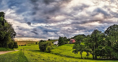 IMG_3556-58Ptzl1scTBbLGER2 (ultravivid imaging) Tags: ultravividimaging ultra vivid imaging ultravivid colorful canon canon5dmk2 clouds sunsetclouds stormclouds scenic summer vista pa rural evening pennsylvania panoramic painterly rainyday farm fields barn road countryscene
