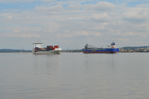 Two big ships in the Thames