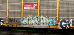 above (timetomakethepasta) Tags: above freight train graffiti art conrail autorack benching selkirk new york photography