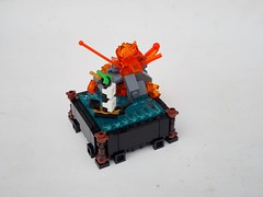 Explosion on Gunpowder Isle (Robert4168/Garmadon) Tags: lego microship microbuild border volcano eruption water flags eslandola gunpowder island brethrenofthebrickseas summer joust transorange