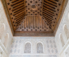 Arabesque and ceiling detail at the Palacio del Partal (ep_jhu) Tags: wood alhambra pattern repetition panorama calligraphy pano granada fujifilm spain lines ceiling geometric x100f fuji star islamic lookingup arabesque españa intricate andalucía es