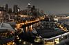 Black Gold, Pier 66, Seattle (alth4) Tags: pier66 seattle waterfront alaskanway greatwheel centurylink night a6500 35mm smith marina skyline monochrome desaturate cutout
