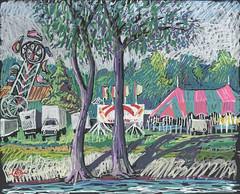 Funfair across the River (Marcia Milner-Brage) Tags: urbanlandscape amusementpark cedarfallsiowa river cedarriver poscapaintmarkers blackpaper marciamilnerbrage